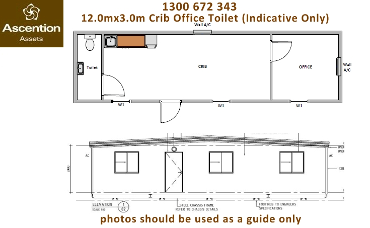 Crib Office Toilet 12x3m Floor Plan